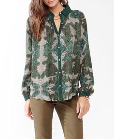 LOVE 21 Studded Paisley A Line Shirt Forever 21
