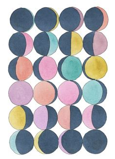 Moon Phases in Pastel // I love everything from the 366sketchbook