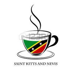 logotipo de café hecho de la bandera de Sain Kitts and Nevis...
