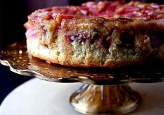A Good Appetite: Tired of rhubarb pie? Try Melissa Clark's recipe for a Rhubarb Upside-Down Cake. It's a lush vanilla-infused cake with tangy, sunset pink rhubarb. Rhubarb Upside Down Cake, Rhubarb Cake, Rhubarb Desserts, Rhubarb Loaf, Rhubarb Cookies, Best Rhubarb Recipes, Cupcakes, Cupcake Cakes, Food Cakes
