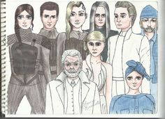 BEAUTIFUL!!! I love how Katniss, Gale, Cressida, & Coin are in black/dark grey...Snow, Peeta, & Johanna are in white...and Haymitch & Effie are in blue. My only quibble is that Eff's eyes are blue too, but no matter; it's still awesomesauce.  - The Hunger Games by TchescoRischioto.deviantart.com on @DeviantArt