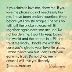 If you claim to love me, show me.