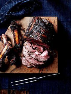Horseradish-and-Parsley-Stuffed Rib-Eye Roast Recipe - Bon Appétit Holiday Roast Recipe, Holiday Recipes, Ribeye Roast, Roast Beef, Roast Recipes, Crockpot Recipes, Cooking Tips, Cooking Recipes, Beef Steak