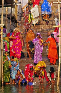 INDIA: Indian women washing clothes Such a sea of colour.... Sure beats the block of drab black in our cities