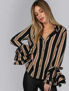 Shop Bell Sleeve Button Down Blouse MULTI online. SheIn offers Bell Sleeve Button Down Blouse MULTI & more to fit your fashionable needs.