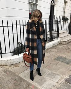 Large check wool coat with jeans & black ankle boots | @styleminimalism