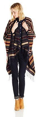 Angie Juniors' Tribal Stripe Poncho Sweater - Shop for women's Sweater - Navy Sweater