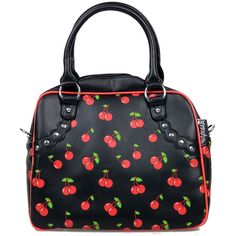 Black & Red Cherries Faux Leather Rockabilly Bowler Purse ($48) ❤ liked on Polyvore