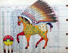 Ledger Art | Black Pinto Horse Fine Arts