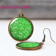 SALE 30% Green Glitter Earrings 25 mm 1 Inch Round Dangle Statement Earrings Bohemian Resin Jewelry Bridesmaid gift 5016-A06 by StudioDbronze