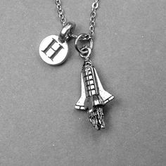 Rocket Necklace Spaceship Necklace Rocket by chrysdesignsjewelry