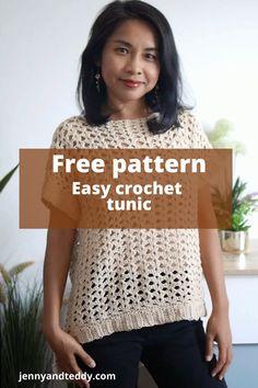 Crochet Tunic, Crochet Clothes, Easy Crochet, Diy Clothes, Free Crochet, Crochet Tops, Free Pattern, Crochet Patterns, Tunic Tops