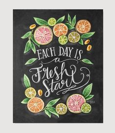 """Each Day is a Fresh Start"" . Kitchen Chalkboard Art - Chalk Art - Kitchen Art - Chalkboard Art - Fresh Start- Motivational Print - Kitchen Print - Hand Lettered Art EUR plus shipping Summer Chalkboard Art, Blackboard Art, Chalkboard Print, Chalkboard Lettering, Chalkboard Designs, Chalkboard Art Kitchen, Chalkboard Drawings, Chalkboard Ideas, Chalk Marker"