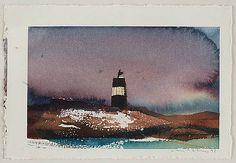 """LARS LERIN Akvarell, signerad och daterad-91. """"Merke, Lofoten"""", akvarell, bildyta 15 x 24 cm."""
