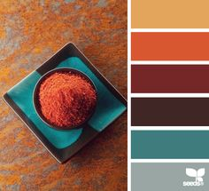 Color Spice - awesome warm toned color palette // Blog Lovin, Design Seeds, Mustard Yellow, Orange, Maroon, Dark Brown, Teal, Grey, Fall, Autumn