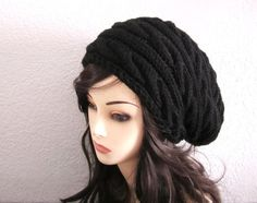 Black Wool Cabled Slouchy Hat  Ready to Ship by mymayamade on Etsy, $43.99