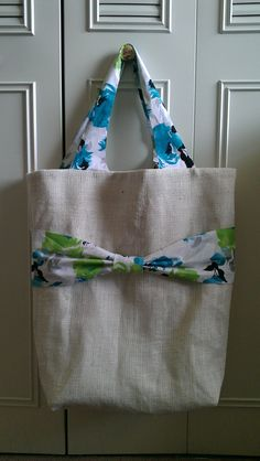 Floral Burlap Tote with Bow by KraftsbyViktorija on Etsy, $40.00