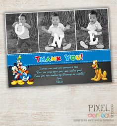 ANY AGE Mickey Mouse Thank You Card, Clubhouse Mickey, Birthday Invitation, Printable Mickey Mouse Invitation, Mickey Photo Invitation
