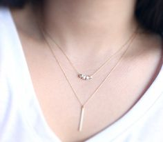 Gold Bar Necklace  simple minimalist skinny 14 karat by petitor, $25.00