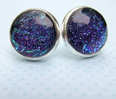 """,, ^ . . ^,, Handmade christmas gift Silver-Tone Purple and Blue Glitter Glass Stud Earrings 1/2"""" Round"""