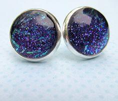 Handmade christmas gift Silver-Tone Purple and Blue Glitter Glass Stud Earrings…