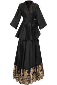 Black mithu embroidered lehenga set with trench coat availaible only at Pernia's…