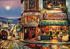 Original ACEO Cafe Prego San Francisco  by V.Geo