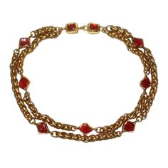 1stdibs.com | Chanel Double Golden Chain Choker With Red Gripoix Glass