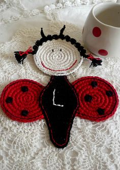 Monogram Crochet Ladybug Coaster Initial Coaster by MonikaDesign