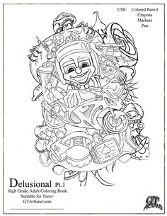Delusional Pt.. 1 GT Artland Adult Coloring Book with 8 Detachable pages