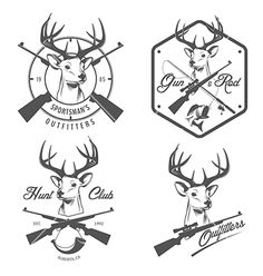 Set of vintage hunting and fishing labels vector by ivanbaranov on VectorStock®