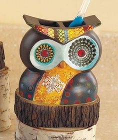 Amazon Com Owl Friend Toothbrush Holder Home Kitchen Owl Bathroom Decorbathrooms