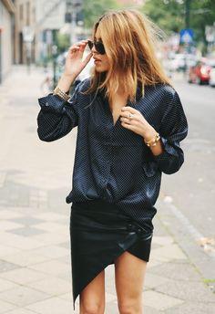 mini skirt + lose shirt