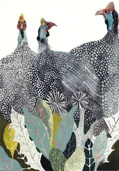 Three Guinea Fowl - Original painting