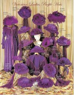 Victorian ladies purple hats