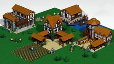 Guess which classic RTS looks fantastic in Lego form: Age of Empires II! Midevil Castle, Lego Christmas Village, Lego Ritter, Lego Age, Lego Universe, Lego Castle, Minecraft Castle, Lego Sculptures, Age Of Empires