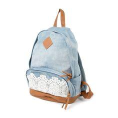 Denim Backpack with Crochet Detail