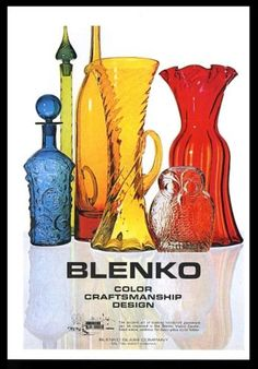 1969-Blenko-Glass-blue-bottle-red-vase-green-decanter-photo-vintage-print-ad Vintage Prints, Vintage Photos, Fenton Lamps, Blenko Glass, Vintage Home Accessories, Genie Bottle, Colored Vases, Sandblasted Glass, Rainbow Glass