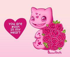 Cute Bulbasaur Valentine's Day card from Pokemon by queenofdeath. Pokemon Valentine Cards, Valentines Art, Bulbasaur Evolution, Hello Kitty, Nerd, Geek Stuff, Kawaii Style, Seasons, Screenprinting