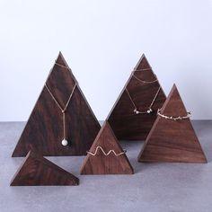 Jewelry store Dark Walnut Triangle Mountain Bracelets Display Holder - Jewelry Display Showcase Your Wood Jewelry Display, Jewelry Display Stands, Bracelet Display, Ring Displays, Jewelry Tray, Jewelry Show, Jewelry Stand, Jewelry Holder, Jewellery Storage