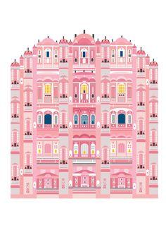 Hawa Mahal palace in Jaipur, India #pinkpalace #illustration by Saskia Rasink