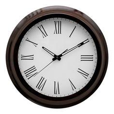 Wall Clock, Mahogany Effect Wood