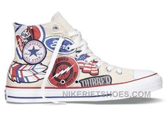 c5622005a3efc2 CONVERSE All Star American Retro Pattern Printing White High Tops Chuck  Taylor Canvas Sneakers For Sale F2CKJ. Weiß Converse SchuheRabatt ...