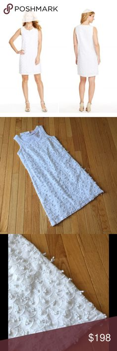 """NWT Vineyard Vines white nautical shift dress 0 Brand new with tags.   Vintage Inspired scallop embroidered fabric finished with frilly pompom accents Hidden side-zip closure. Scooped neck. Sleeveless. Linen lined with cotton.   Approximate measurements: Length: 36"""" Bust across pit to pit: 16.5""""  M2329 Vineyard Vines Dresses Mini"""