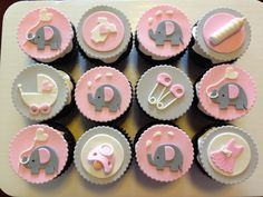 Pink and grey elephant cupcakes for baby shower.