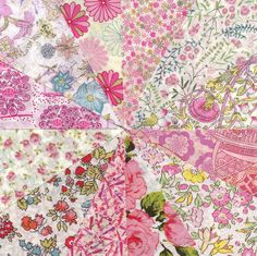 Liberty Fabric BABY PINK charm pack - 12 Liberty of London Tana Lawn  Fabric 5 inch squares