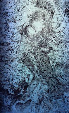 """天野喜孝 - Yoshitaka Amano- I absolutely love this piece of artwork. Something about it is reminiscent of Gustav Klimt's """"The Kiss."""" Only this is the ocean version ;) Love it!"""
