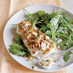 Roasted Cod with Almond-Thyme Breadcrumbs - Quick-and-Easy Seafood Recipes - Cooking Light Cod Recipes, Fish Recipes, Seafood Recipes, Dinner Recipes, Vegan Recipes, Quick Fish, Roasted Cod, Cooking Light Recipes, Hamburgers