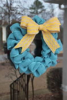 ~ so cute! ~ Blue and Yellow Burlap Wreath  Yellow Chevron  by CreatedForHome, $26.00
