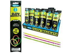 Glow Bracelet Set Counter Display, 48 - Great for Halloween, parties and concerts, these Glow Bracelets make any event more festive. Each pack comes with 3 bracelets in assortment of colors that can include yellow, pink and green. There are 48 packs per counter top display.-Colors: yellow,green,pink. Material: plastic. Weight: 0.2708/unit